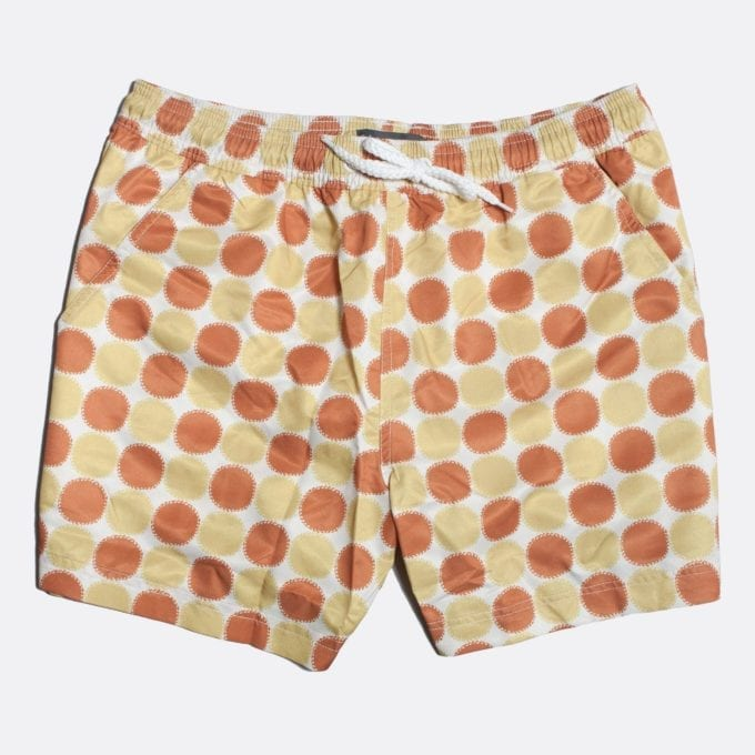 Far Afield Blazing Print Swim Shorts a Multi Colour Recycled Plastic Sun Motif Repeat Pattern Fabric Casual