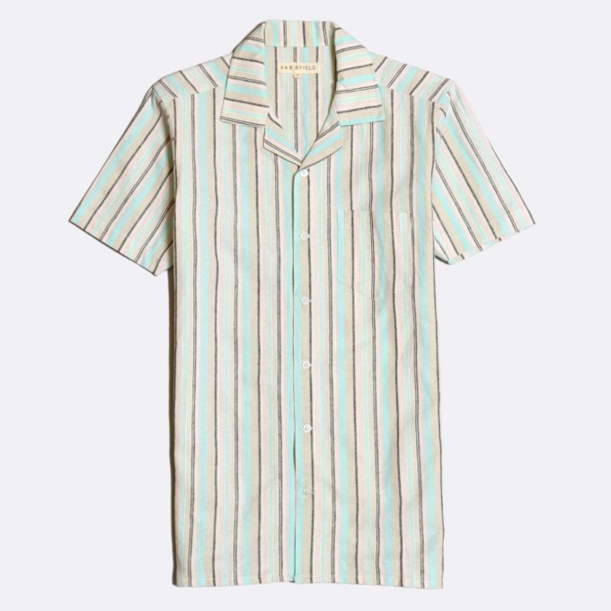 Far Afield Stachio Short Sleeve Shirt a Linen Off-White Hawaiian Bowling Style Fabric