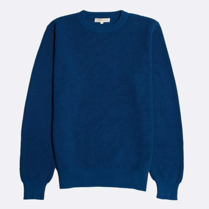 Far Afield Zaca Crew Neck Knit a Monaco Blue Organic Cotton Classic Fabric Jumper Casual