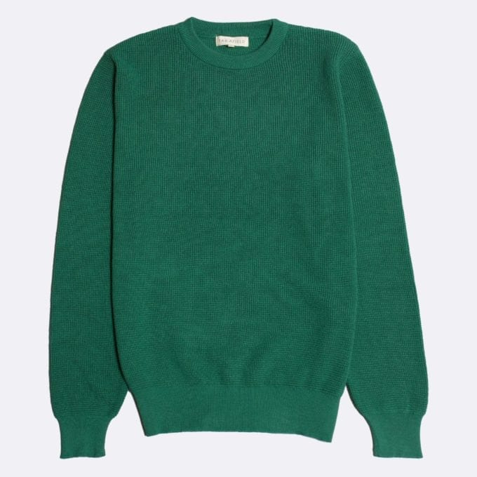 Far Afield Zaca Crew Neck Knit a Bottle Green Organic Cotton Classic Fabric Jumper Casual