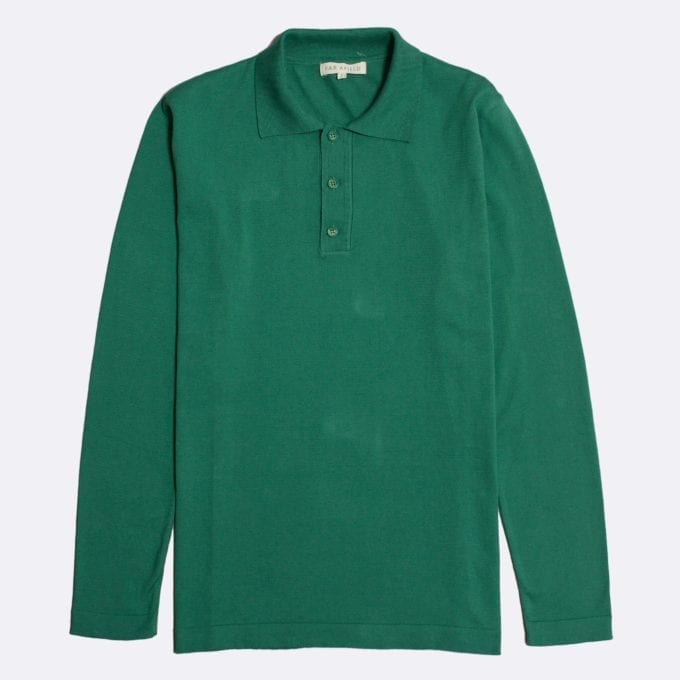Far Afield Antonio Long Sleeve Polo a Bottle Green Organic Cotton Classic Fabric Knitwear Casual
