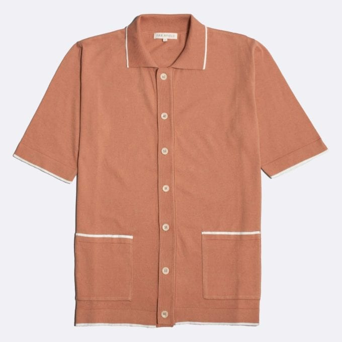 Far Afield Errol Short Sleeve Polo a Toasted Orange BCI Cotton Fabric Italian Mod Knitwear Smart Casual