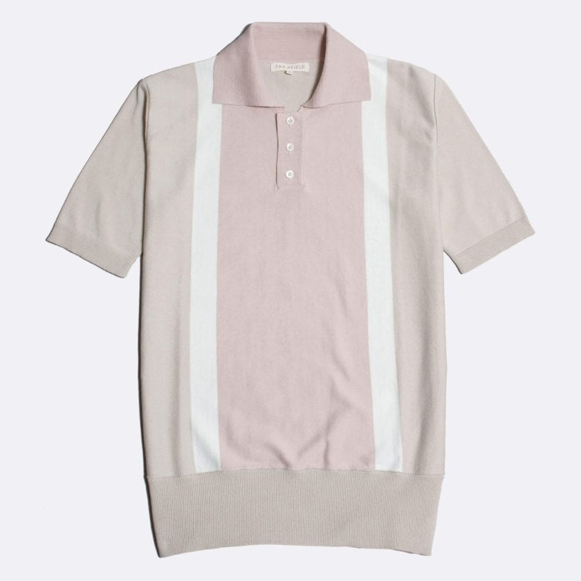 Far Afield Cole Trio Short Sleeve Polo a Stone / White / Pink BCI Cotton Fabric Italian Mod Knitwear Smart Casual