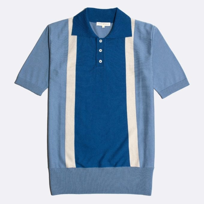 Far Afield Cole Trio Short Sleeve Polo a Stonewash Blue / White / Monaco Blue BCI Cotton Fabric Italian Mod Knitwear Smart Casual