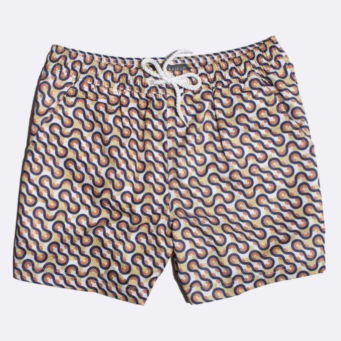 Far Afield Waves Print Swim Shorts