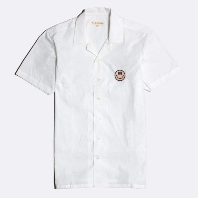 Far Afield Embroidered Stachio Short Sleeve Shirt a White BCI Cotton Fabric Hawaiian Bowling Style Smart Casual