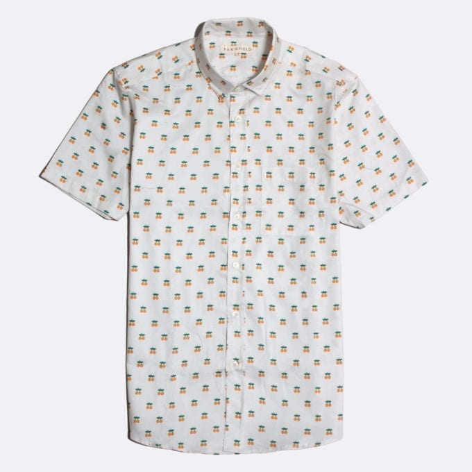 Far Afield Cognito Short Sleeve Shirt a White BCI Cotton Oranges Fruit Repeat Pattern Print Fabric Smart Casual