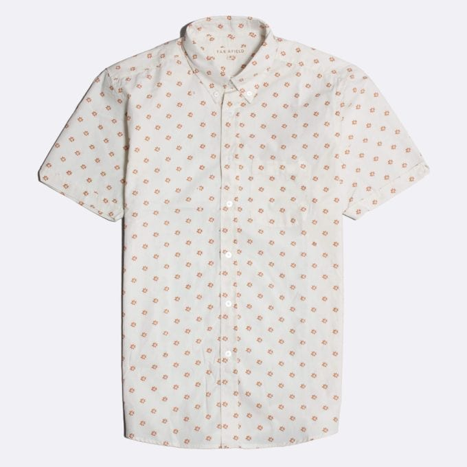 Far Afield Mod Button Down Short Sleeve Shirt a White BCI Cotton Flower Power Repeat Pattern Print Fabric Smart Casual