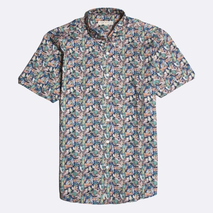 Far Afield Mod Button Down Short Sleeve Shirt a Multi Colour BCI Cotton Flamingo Repeat Pattern Print Fabric Smart Casual
