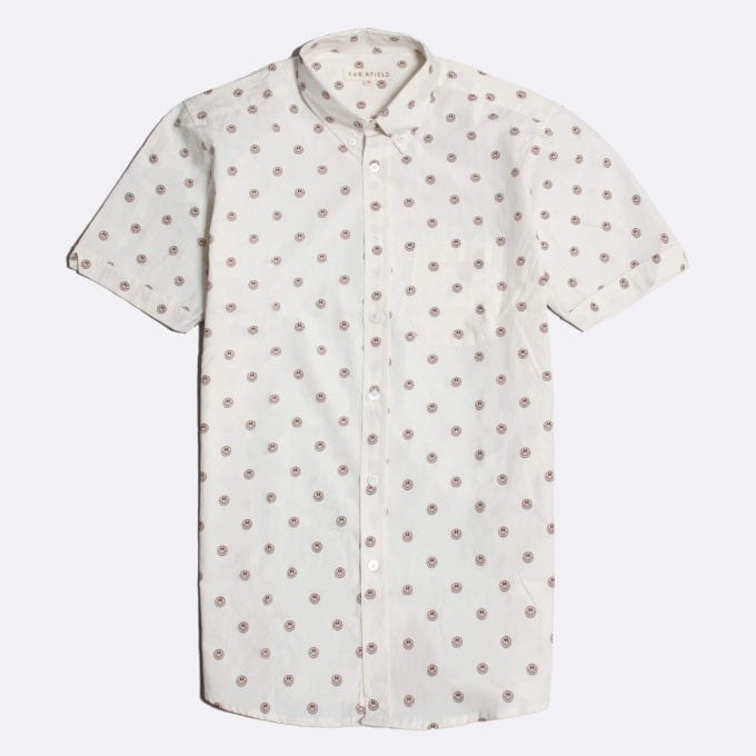 Far Afield Mod Button Down Short Sleeve Shirt a White BCI Cotton Smiley Face Repeat Pattern Print Fabric Smart Casual