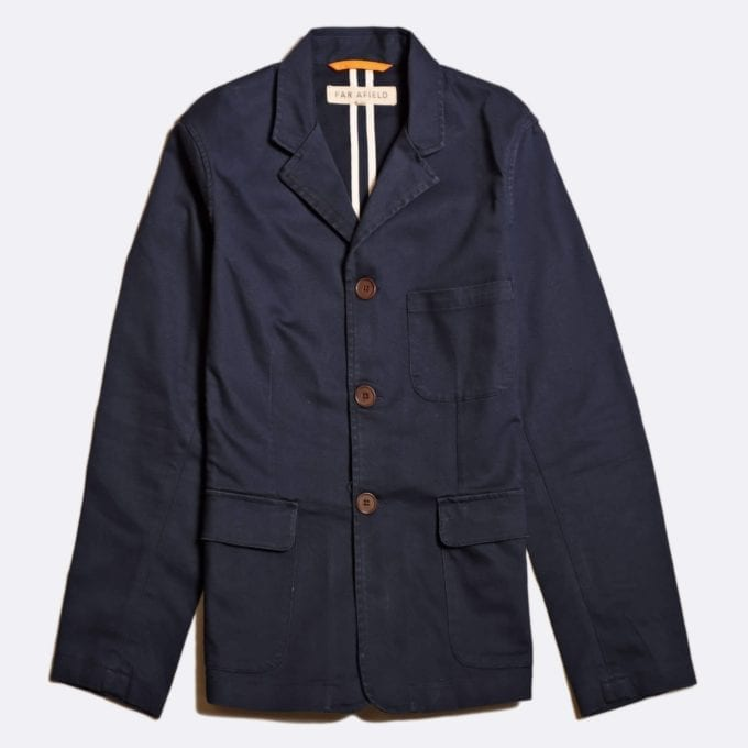 Far Afield Barbet Jacket a Ensign Blue BCI Cotton/Cotton Twill Fabric Work Blazer Smart Casual