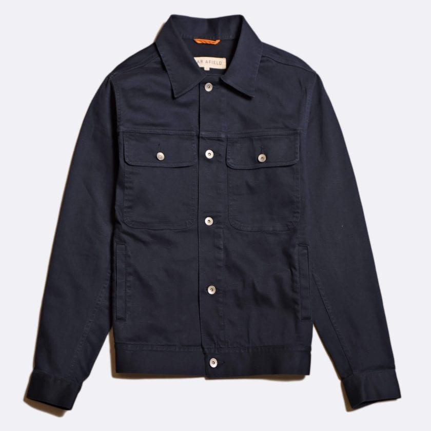 Far Afield Watts Jacket a Ensign Blue Fabric Trucker Casual Work