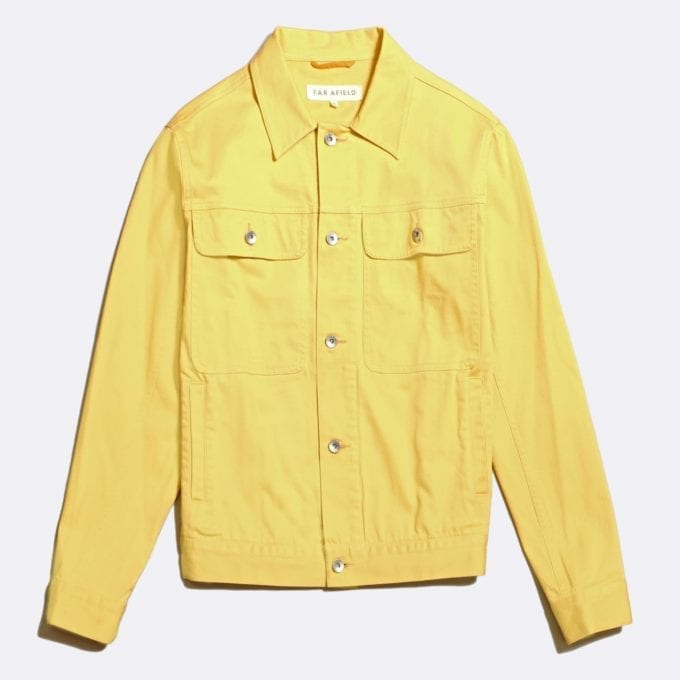 Far Afield Watts Jacket a Jojoba Yellow BCI Cotton/Cotton Twill Fabric Trucker Casual Work