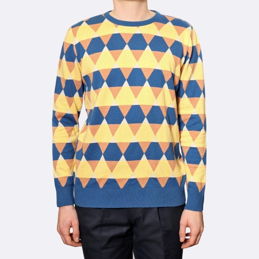 Far Afield Amnesia Long Sleeve Crew Neck a Blue / Orange / Yellow BCI Cotton Classic Fabric Knitted Jumper Casual 2