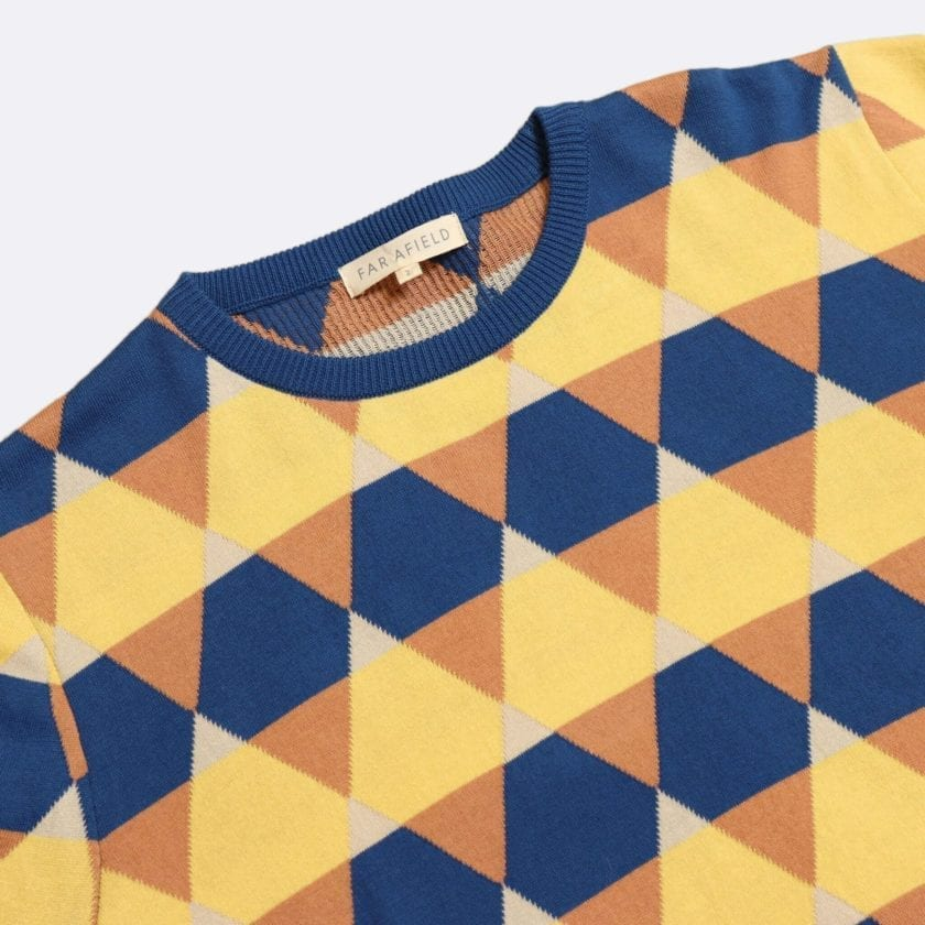 Far Afield Amnesia Long Sleeve Crew Neck a Blue / Orange / Yellow BCI Cotton Classic Fabric Knitted Jumper Casual 3