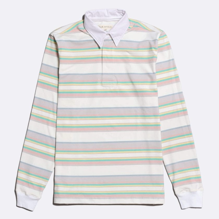 Far Afield Benito Rugby Shirt a White/Pink BCI Cotton Classic Fabric Preppy Stripe Casual