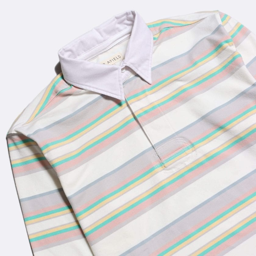 Far Afield Benito Rugby Shirt a White/Pink BCI Cotton Classic Fabric Preppy Stripe Casual 2