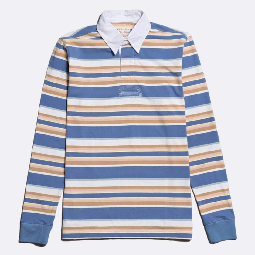 Far Afield Benito Rugby Shirt a Blue/White BCI Cotton Classic Fabric Preppy Stripe Casual
