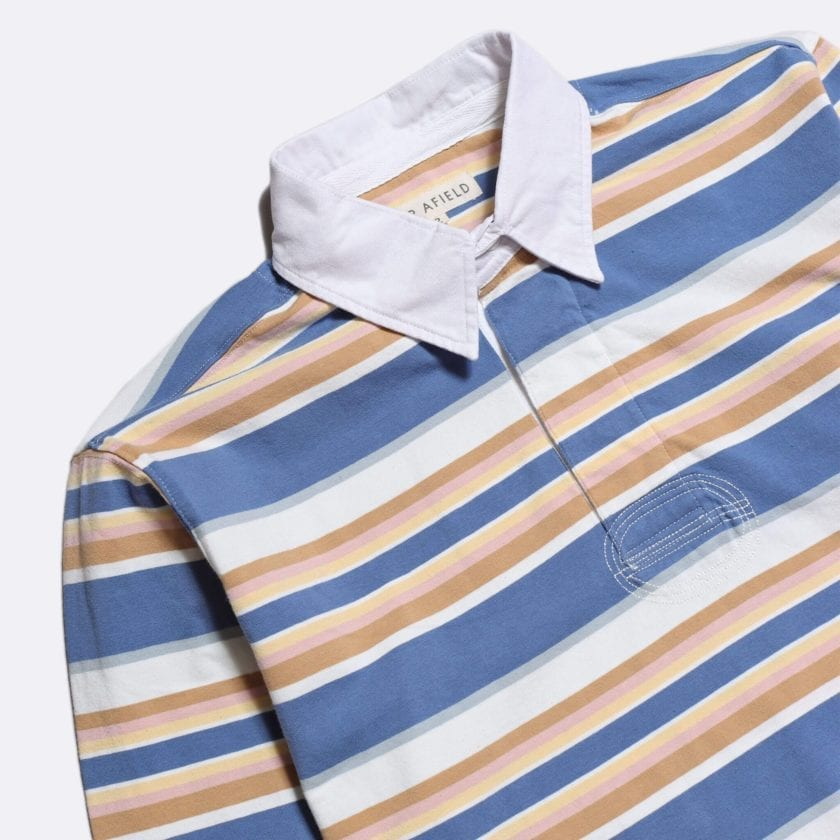 Far Afield Benito Rugby Shirt a Blue/White BCI Cotton Classic Fabric Preppy Stripe Casual 2
