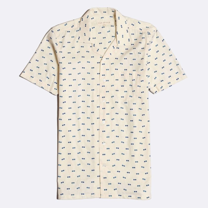 Far Afield Stachio Short Sleeve Shirt a White Cotton/Up-Cycled Fabric Hawaiian Bowling Style Smart Casual