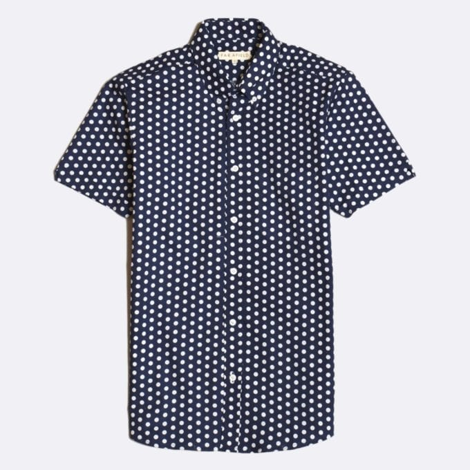 Far Afield Mod Button Down Short Sleeve Shirt a Navy Up-Cycled Fabric Polka Dot Repeat Pattern Print Smart Casual