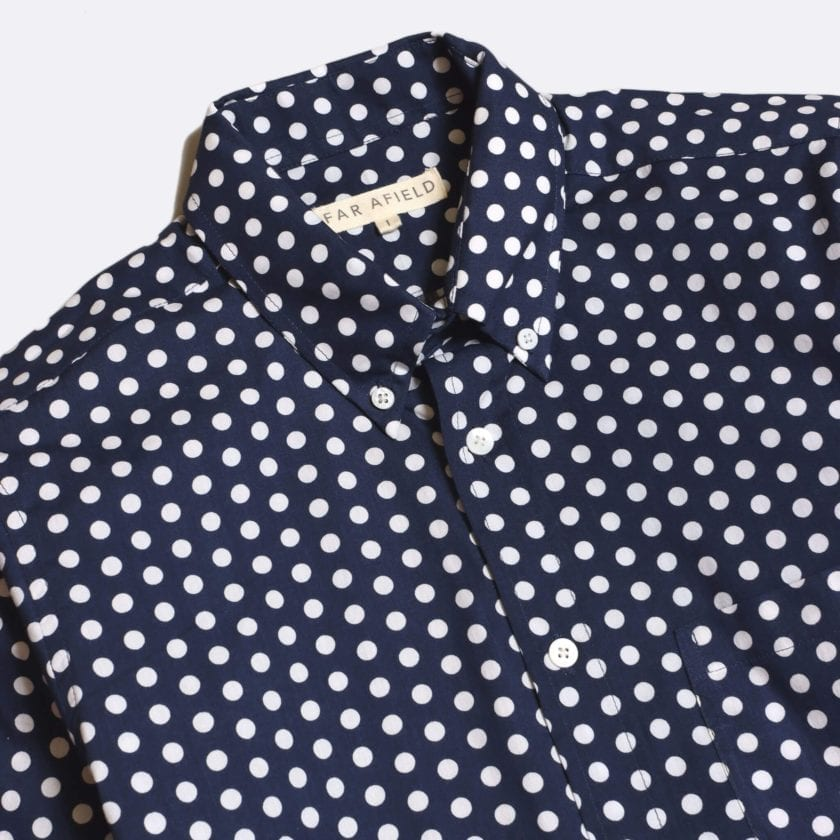 Far Afield Mod Button Down Short Sleeve Shirt a Navy Up-Cycled Fabric Polka Dot Repeat Pattern Print Smart Casual 2