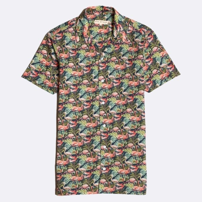 Far Afield Stachio Short Sleeve Shirt a Navy Cotton/Up-Cycled Fabric Hawaiian Bowling Style Smart Casual