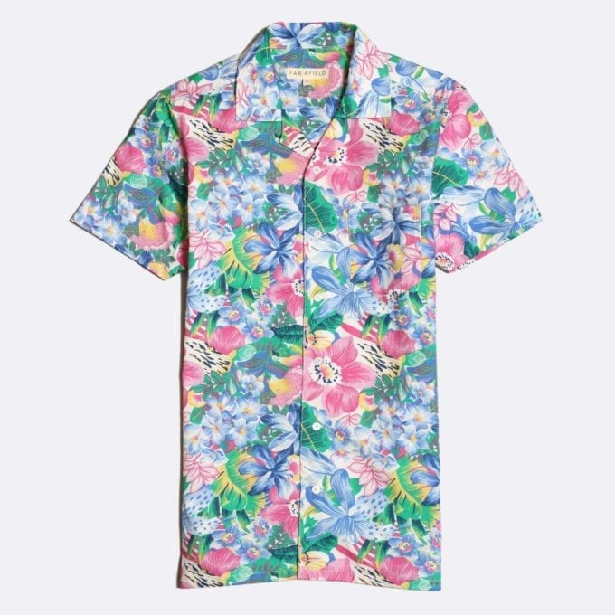 Far Afield Stachio Short Sleeve Shirt a Multi Colour Cotton/Up-Cycled Fabric Hawaiian Bowling Style Smart Casual