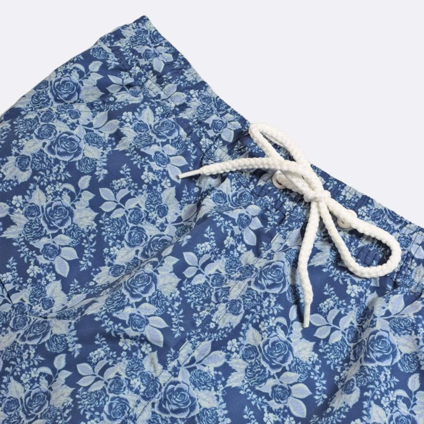 Far Afield x Selfridges Rose Print Swim Shorts a Navy Recycled Plastic Floral Repeat Pattern Fabric Casual 2