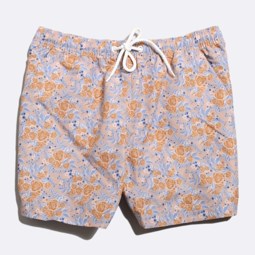 Far Afield x Selfridges Rose Print Swim Shorts a Pink Recycled Plastic Floral Repeat Pattern Fabric Casual