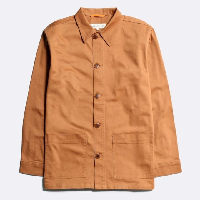 Far Afield x John Lewis Bisset Jacket a Sudan Brown Organic Cotton Twill Fabric Utility Overshirt Casual Work