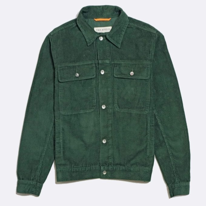 Far Afield Watts Jacket a Green Organic Cotton Corduroy Fabric Trucker Casual Work