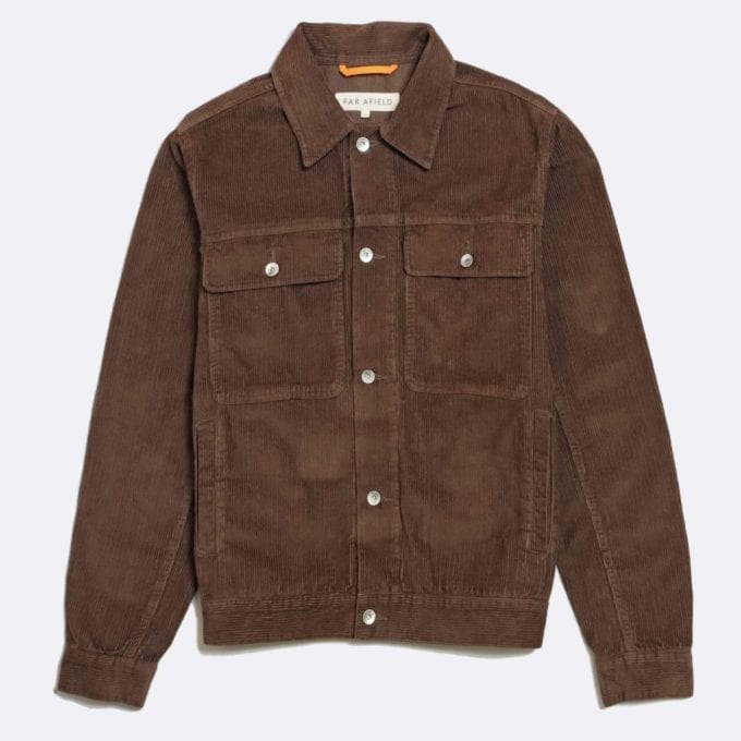 Far Afield Watts Jacket a Dark Brown Organic Cotton Corduroy Fabric Trucker Casual Work
