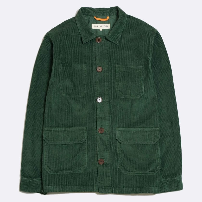 Far Afield Porter Jacket a Green Organic Cotton Corduroy Fabric Utility Overshirt Casual Work