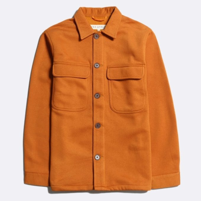 Far Afield Normsk Jacket a Orange BCI Cotton Fabric/Poly Fleece Utility Overshirt Casual Work