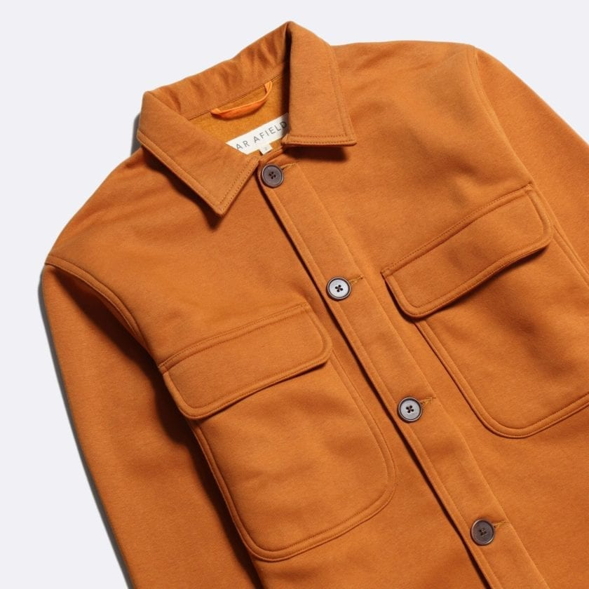 Far Afield Normsk Jacket a Orange BCI Cotton Fabric/Poly Fleece Utility Overshirt Casual Work 5