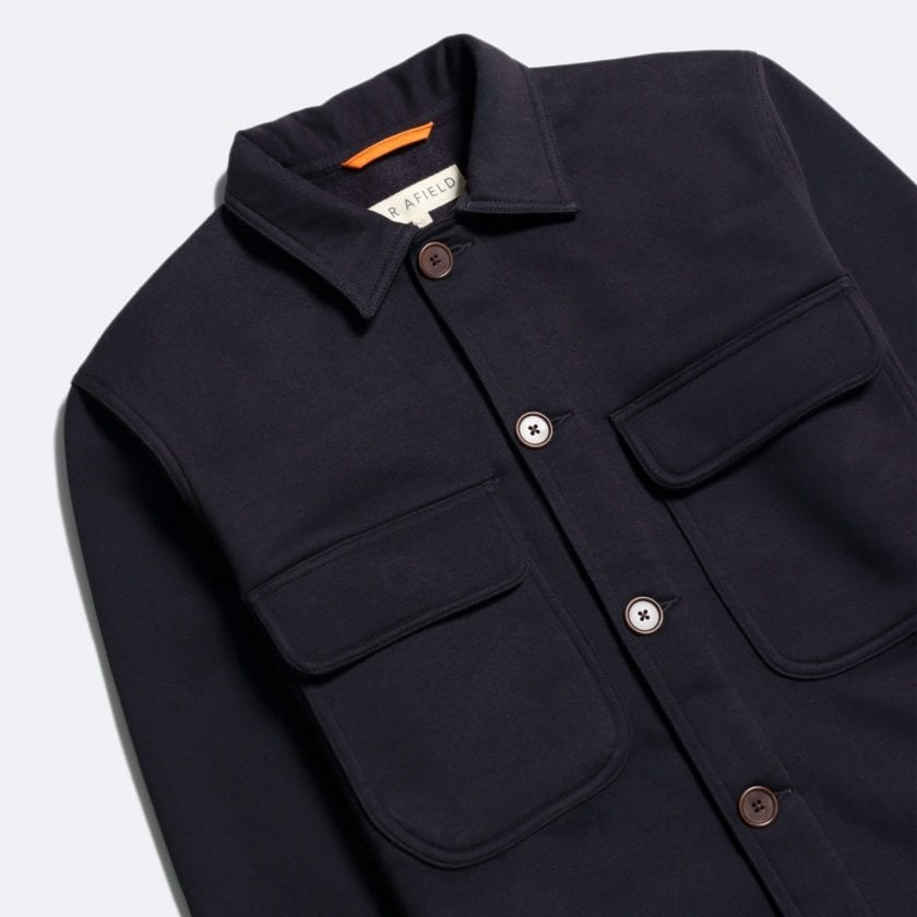 Far Afield Normsk Jacket a Navy BCI Cotton Fabric/Poly Fleece Utility Overshirt Casual Work 6