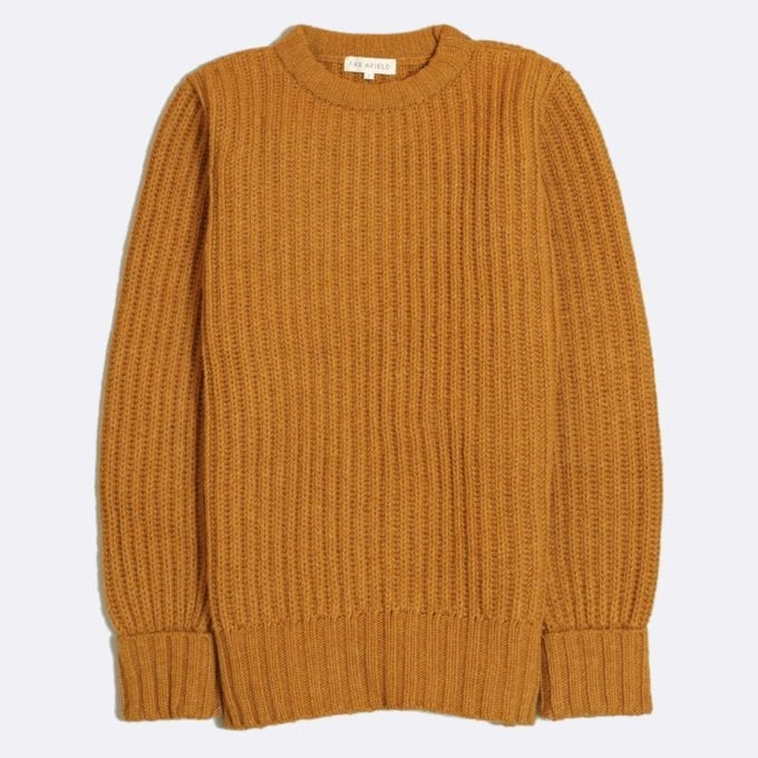 Far Afield Tanner Ribbed Knit a Orange Fine Wool Blend Fabric Fisherman Jumper Casual