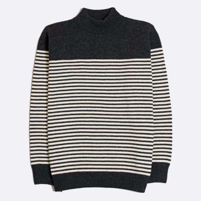 Far Afield Combin Stripe Knit a Espresso Grey Fine Wool Blend Fabric Mock Turtle Neck Jumper Casual