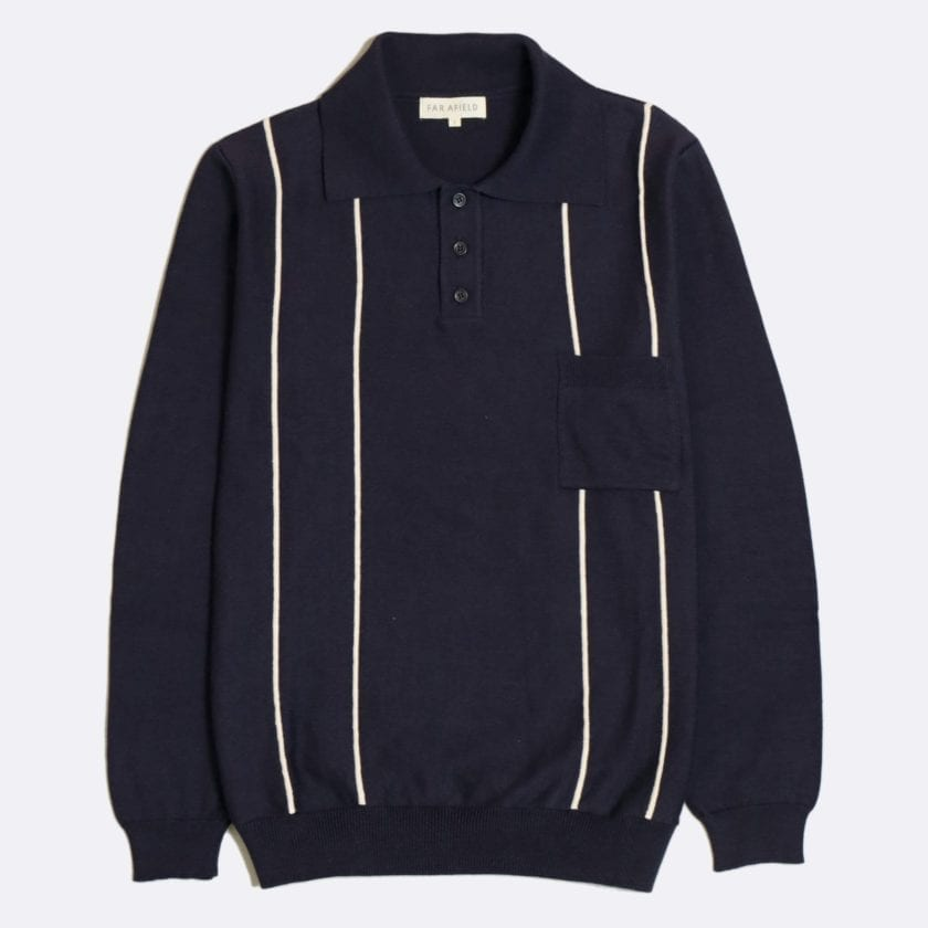 Far Afield Alfaro Long Sleeve Polo a Navy Organic Cotton Fabric Italian Mod Knitwear Smart Casual