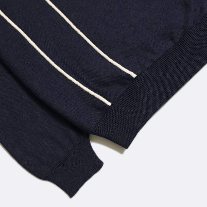 Far Afield Alfaro Long Sleeve Polo a Navy Organic Cotton Fabric Italian Mod Knitwear Smart Casual 6