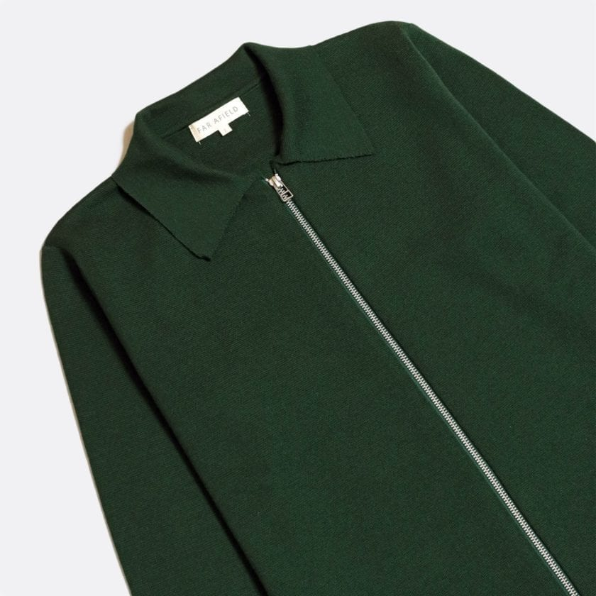 Far Afield Alexsey Zipper Cardigan a Green Fine Merino Blend Fabric Italian Mod Knitwear Smart Casual 5