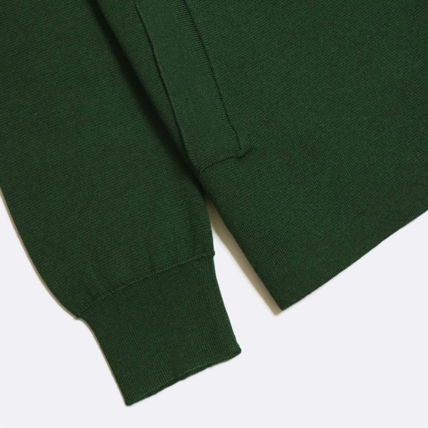 Far Afield Alexsey Zipper Cardigan a Green Fine Merino Blend Fabric Italian Mod Knitwear Smart Casual 6
