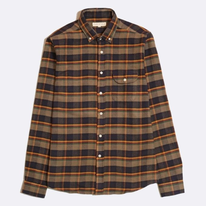 Far Afield Larry Long Sleeve Shirt a Ural Check BCI Cotton Fabric/Cotton Flannel Work Lumberjack Check Casual