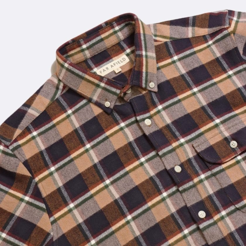 Far Afield Larry Long Sleeve Shirt a Baikal Check BCI Cotton Fabric/Cotton Flannel Work Lumberjack Check Casual 5