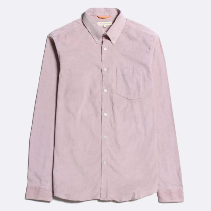Far Afield Field Long Sleeve Shirt a Plum Pink Organic Cotton Classic Fabric Button Down Casual