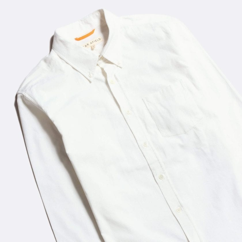 Far Afield Field Long Sleeve Shirt a Ecru Organic Cotton Classic Fabric Button Down Casual 6