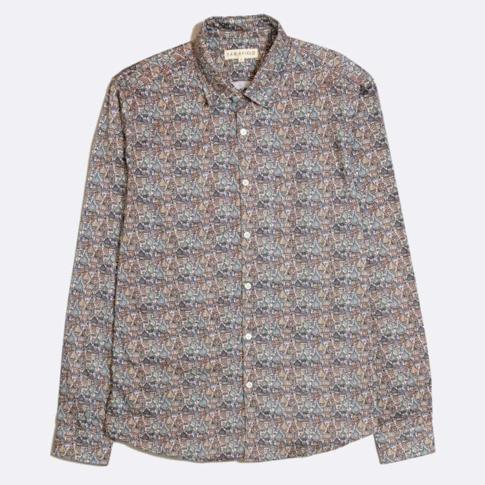 Far Afield Classic Long Sleeve Shirt a Multi Colour Organic Cotton Repeat Pattern Print Fabric Smart Casual