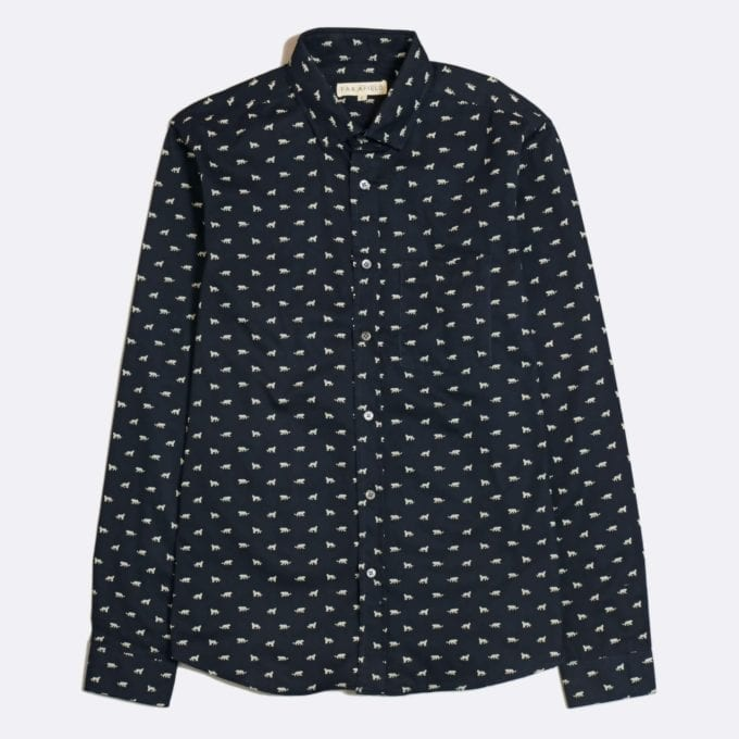 Far Afield Cognito Long Sleeve Shirt a Dark Navy Organic Cotton Tiger Repeat Pattern Print Fabric Smart Casual