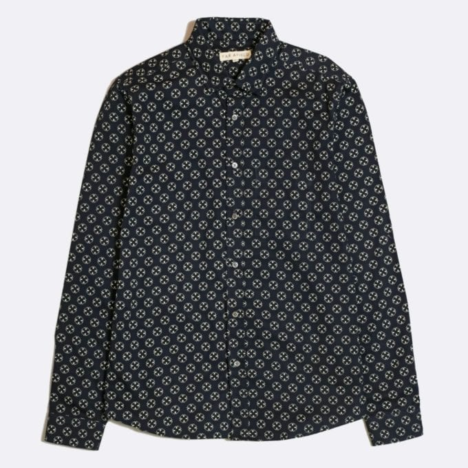 Far Afield Cognito Long Sleeve Shirt a Dark Navy Organic Cotton Ram's Head Repeat Pattern Print Fabric Smart Casual